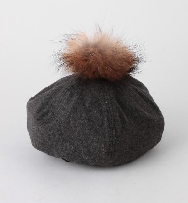 【アナザーエディション/Another Edition】 ポンポンチェックベレー帽(グレー)/AEBFC PONPON BRT [送料無料]