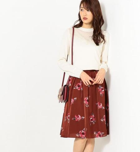 ★送料無料!●JOC PE ローズプリント タックギャザースカート / フレアスカート / 花柄