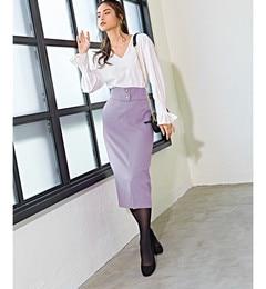 <アイルミネ> SMF フルフラン ハイウエスト ベルトタイト スカート画像