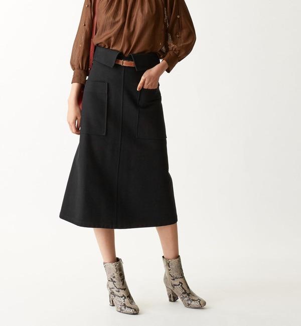 【エメルリファインズ/EMMEL REFINES】 〔ハンドウォッシャブル〕SMF HW COツイル ベルトAラインスカート