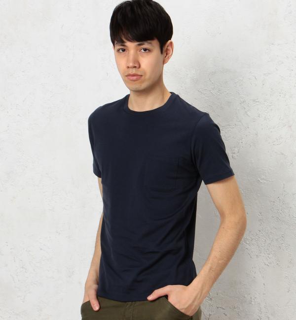 【グリーンレーベルリラクシング/green label relaxing】 KC ◎GIZA ポケット C/N S/S Tシャツ [3000円(税込)以上で送料無料]
