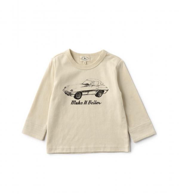 【グリーンレーベルリラクシング/green label relaxing】 【BABY】コットン モノトーンCARプリント Tシャツ ロングスリーブ [3000円(税込)以上で送料無料]
