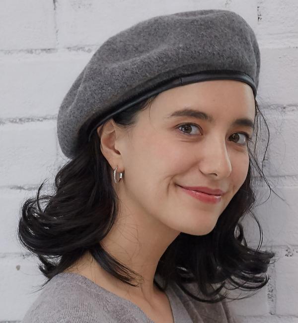 【グリーンレーベルリラクシング/green label relaxing】 CF レザートリムバスクベレー帽 [送料無料]