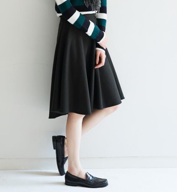 【グリーンレーベルリラクシング/green label relaxing】 CB W/Nフラノ サーキュラースカート [送料無料]