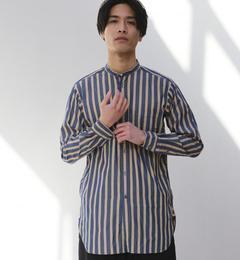 【グリーンレーベルリラクシング/greenlabelrelaxing】【WEB限定】SC★★BOLD/ストライプロングバンドカラーシャツ[送料無料]