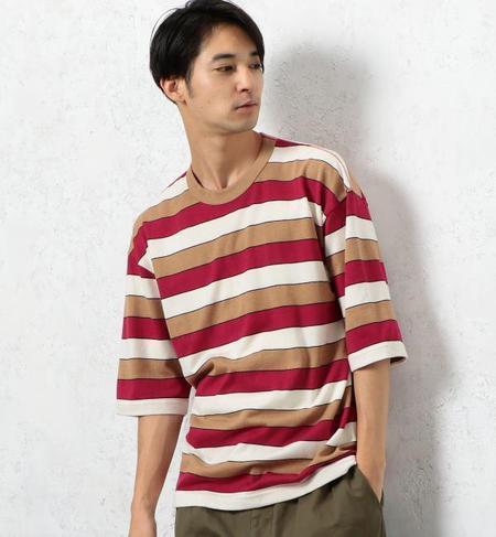 ★送料無料!SC マルチボーダー クルーネック 5分袖 Tシャツ
