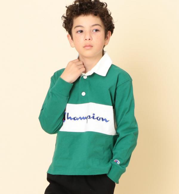【ジュニア】〔別注〕CHAMPION(チャンピオン)ラガーシャツ【グリーンレーベルリラクシング/green label relaxing キッズ Tシャツ・カットソー KELLY ルミネ LUMINE】