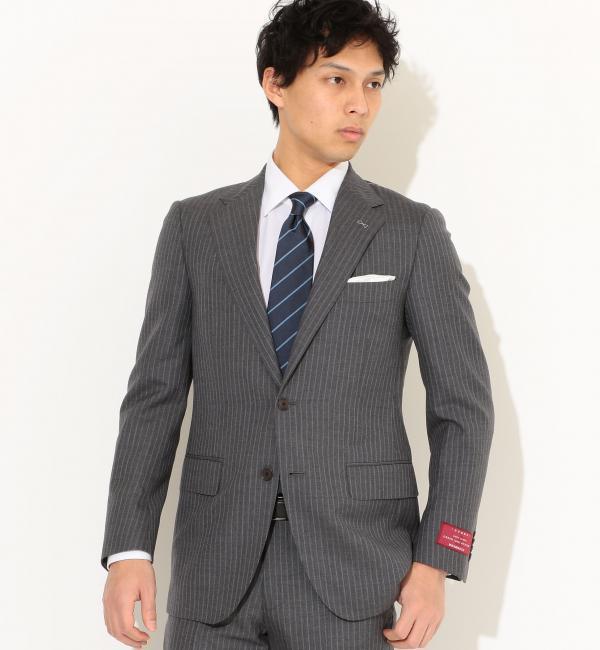 [御幸毛織] MYK カラーストライプ 2ボタン SG NTHP- ジャケット【グリーンレーベルリラクシング/green label relaxing メンズ スーツ MD.GRAY ルミネ LUMINE】