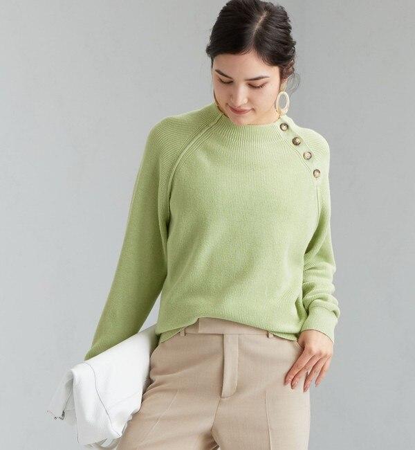 【グリーンレーベルリラクシング/green label relaxing】 CFC コットン ショルダー マーブル ボタン プルオーバー ニット