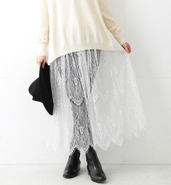 【ビームス ウィメン/BEAMS WOMEN】 レースシアー ギャザースカート [送料無料]