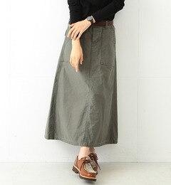 【ビームスウィメン/BEAMSWOMEN】バックサテン4ポケットミリタリーロングスカート[送料無料]