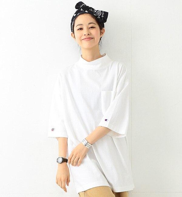 【ビームス ウィメン/BEAMS WOMEN】 Champion×BEAMS BOY / 別注 モックネック ビッグTシャツ [送料無料]
