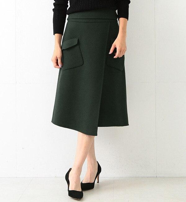 【ビームス ウィメン/BEAMS WOMEN】 【CLASSY.11月号掲載】ポケット付き リバーラップ風スカート [送料無料]