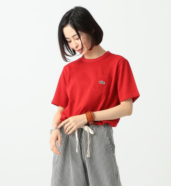 LACOSTE / 別注 ポケット Tシャツ【ビームス ウィメン/BEAMS WOMEN レディス Tシャツ・カットソー RED ルミネ LUMINE】