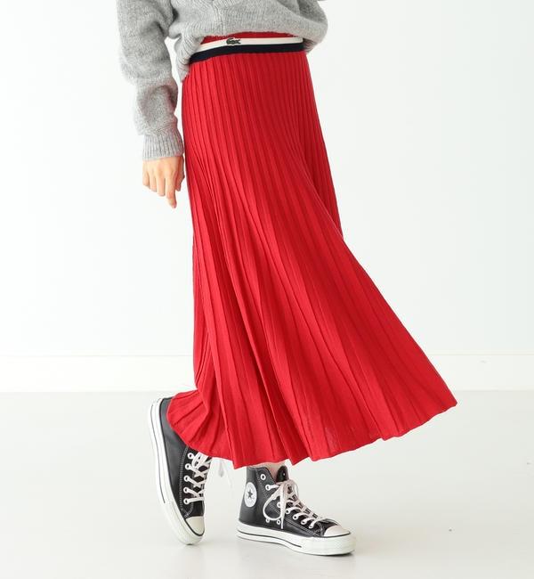【ビームス ウィメン/BEAMS WOMEN】 LACOSTE × BEAMS BOY / 別注 ニット プリーツ スカート