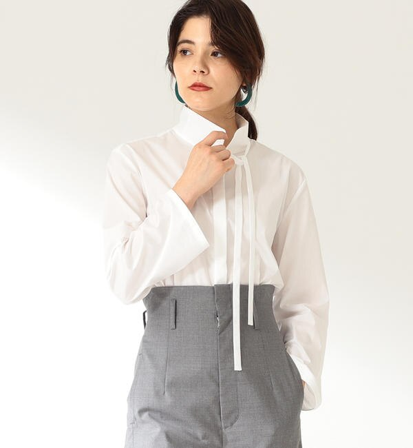 Demi-Luxe BEAMS / スタンドネック タイ シャツ