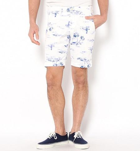 人気メンズファッション|SC: モチーフプリント ホワイト テーパード/ショーツ