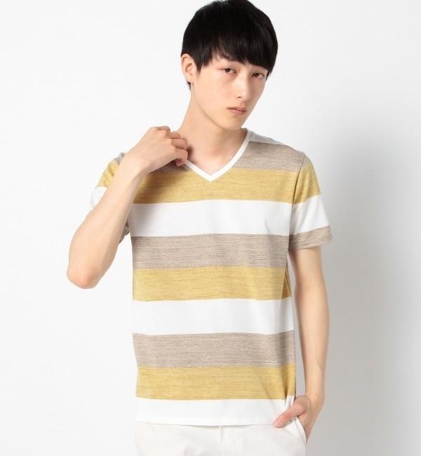 【シップス/SHIPS】 SC: SHIPS(シップス)ワイドボーダー/3ブロックカラー Vネック Tシャツ [送料無料]
