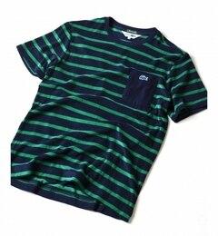 【シップス/SHIPS】 LACOSTE(ラコステ): 【SHIPS別注】 パイル/ボーダー ポケット Tシャツ [送料無料]