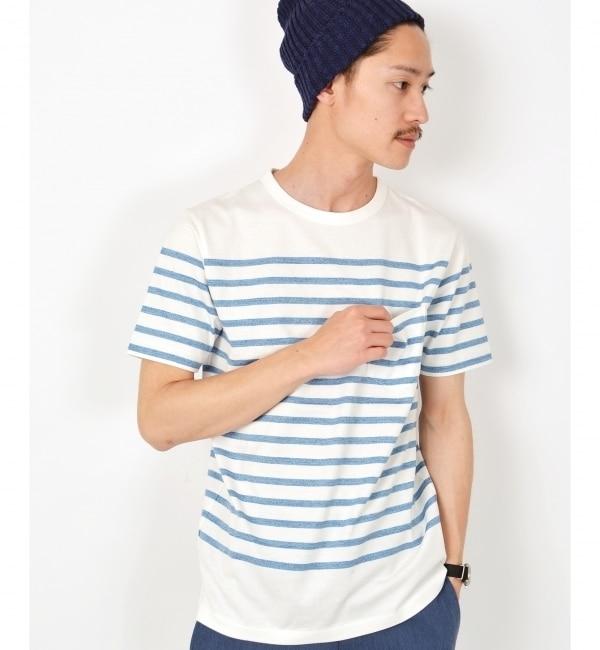 【シップス/SHIPS】 SC: SHIPS(シップス) スペック染め マリンボーダー クルーネック ポケット Tシャツ [送料無料]