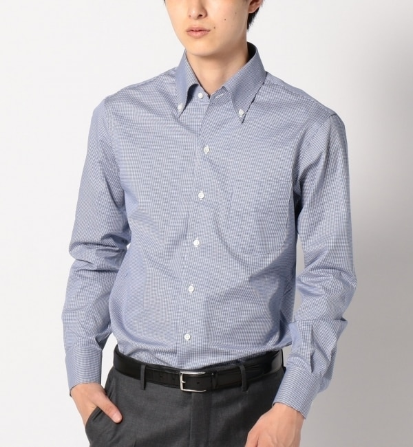 【シップス/SHIPS】 SD: 【GIZAコットン】 ミニギンガムチェック イタリアンボタンダウンシャツ (ブルー) [送料無料]