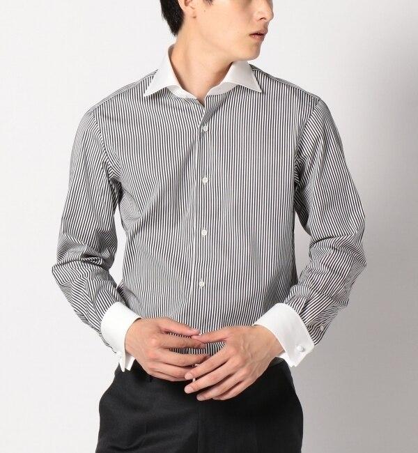 【シップス/SHIPS】 SD: 【ダブルカフス】 サテンストライプ クレリック ワイドカラーシャツ [送料無料]