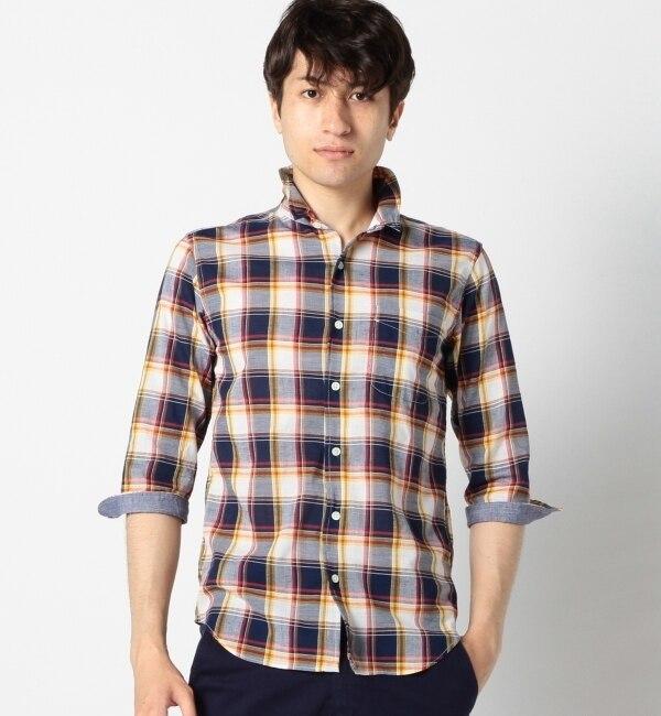 【シップス/SHIPS】 SHIPS JET BLUE(シップス ジェットブルー): リネン トラッドチェック ワイヤーシャツ [送料無料]