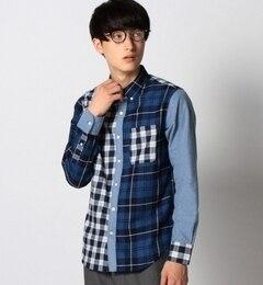 【シップス/SHIPS】 SHIPS JET BLUE (シップス ジェットブルー): インディゴ パッチワークBDシャツ [送料無料]