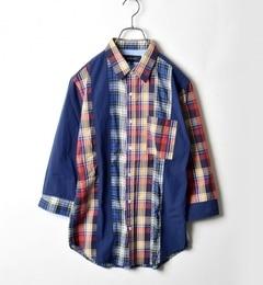 【シップス/SHIPS】 SHIPS JET BLUE: パッチワーク リビルド 7スリーブシャツ■ [送料無料]