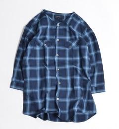 【シップス/SHIPS】 SHIPS JET BLUE: インディゴチェック ノーカラーシャツ 7スリーブ [送料無料]