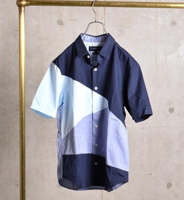 【シップス/SHIPS】 SHIPS JET BLUE: ランダムパッチワーク ショートスリーブシャツ [送料無料]
