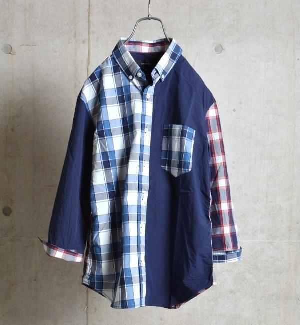 【シップス/SHIPS】 SHIPS JET BLUE: パッチワーク BD 7スリーブシャツ [送料無料]
