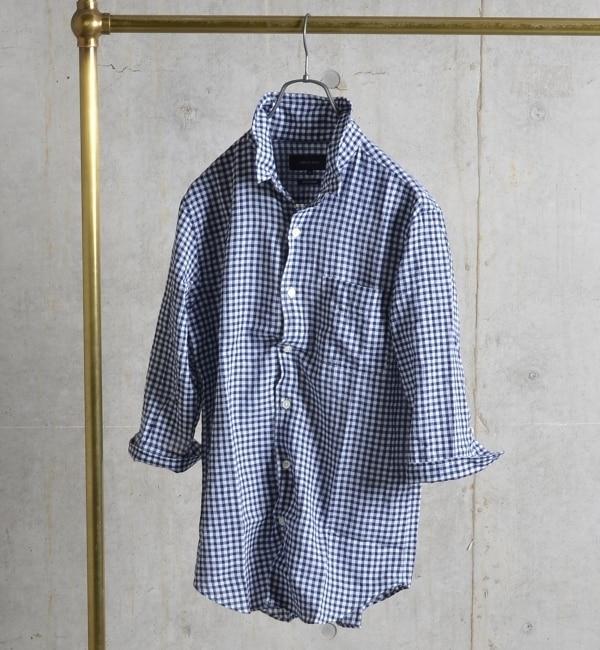 【シップス/SHIPS】 SHIPS JET BLUE: ギンガム ストライプ クールマックス ワイヤー 7スリーブシャツ [送料無料]