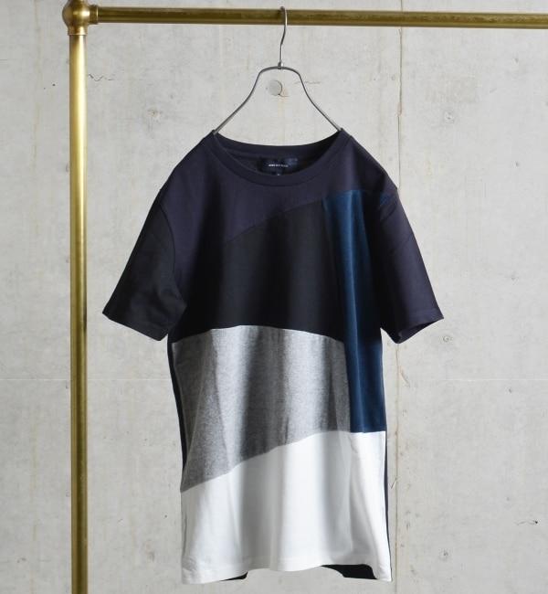 【シップス/SHIPS】 SHIPS JET BLUE: ランダムパッチワークTシャツ [送料無料]