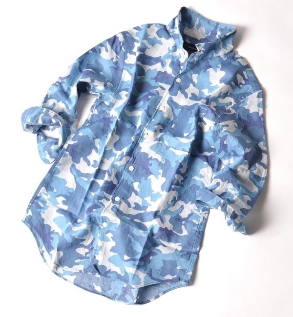 【シップス/SHIPS】 SHIPS JET BLUE: カモフラージュ リネンワイヤー 7スリーブシャツ [送料無料]