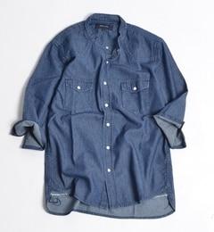 【シップス/SHIPS】 SHIPS JET BLUE: デニム バンドカラーウェスタン 7スリーブシャツ [送料無料]