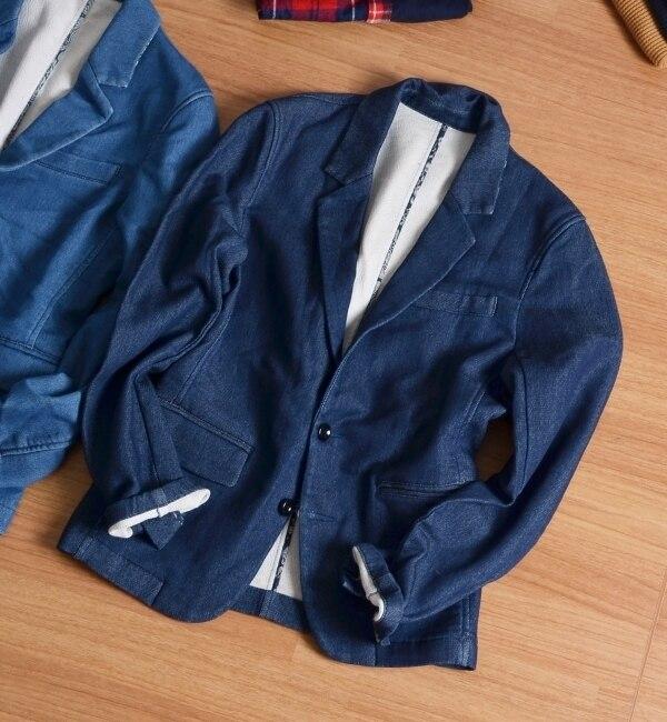 【シップス/SHIPS】 SHIPS JET BLUE: スウェットデニム テーラードジャケット [送料無料]