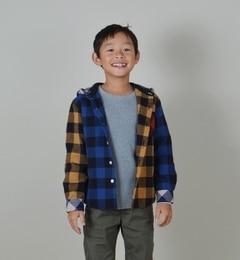 【シップス/SHIPS】 SHIPS KIDS:クレイジーパターン チェック フード シャツ(100?130cm) [送料無料]