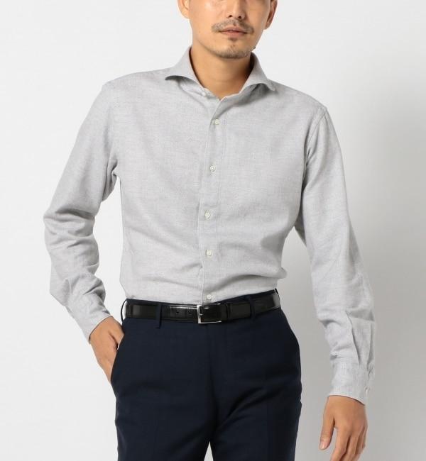 【シップス/SHIPS】 SD: 【MONTI社製】 ウォッシュドネル ヘリンボーン ホリゾンタルカラーシャツ (グレー) [送料無料]