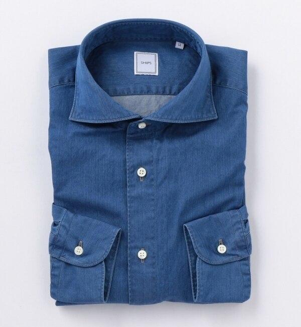 【シップス/SHIPS】 SD: 【WASHED】 デニム ソリッド ホリゾンタルカラーシャツ [送料無料]