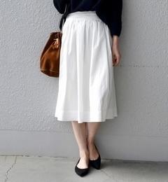【シップス/SHIPS】SHIPSDaysSTANDARD:ギャザースカート(ホワイト)◆[送料無料]