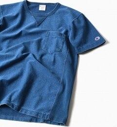 【シップス/SHIPS】 Champion×SHIPS: 別注 インディゴ リバースウィーブ ジャージー ポケット Tシャツ [送料無料]