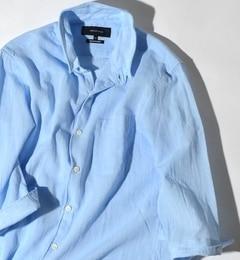 【シップス/SHIPS】 SHIPS JET BLUE: 【COOLMAX】リネン スタンドワイヤー7スリーブシャツ [送料無料]