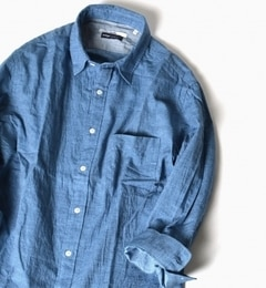 【シップス/SHIPS】SC:17SSインディゴレギュラーカラー7スリーブシャツ[送料無料]