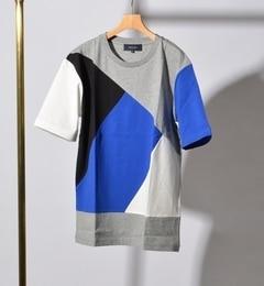 【シップス/SHIPS】 SHIPS JET BLUE: ランダム パッチワーク Tシャツ [送料無料]