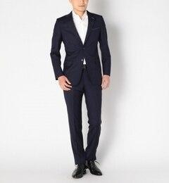 SD: 【REDA社製生地】 ワイドストライプ 2つボタン ノープリーツ スーツ【シップス/SHIPS メンズ スーツ ネイビー ルミネ LUMINE】