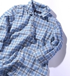 【シップス/SHIPS】 SHIPS JET BLUE: インディゴチェック スタンドワイヤー7スリーブシャツ [送料無料]