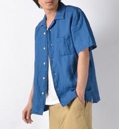 【シップス/SHIPS】 SHIPS JET BLUE: インディゴ リネンオープンカラーシャツ 【半袖】 [送料無料]
