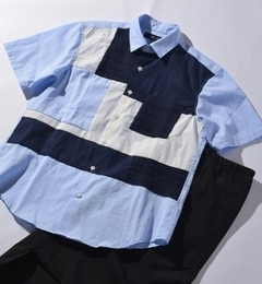【シップス/SHIPS】 SHIPS JET BLUE: ブロックパネル Tシャツ【半袖】 [送料無料]