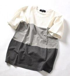 【シップス/SHIPS】 SHIPS JET BLUE: MIX パネルTシャツ [送料無料]